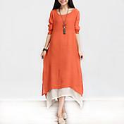 Mujer Corte Ancho Vestido Casual/Diario Simple Tejido Oriental,Un Color Retazos Escote Redondo Asimétrico Manga Larga Algodón Lino
