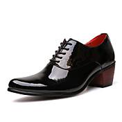 Hombre Zapatos Cuero Patentado Primavera Verano Otoño Invierno Confort Oxfords Encaje Cosido Con Cordón Para Casual Fiesta y Noche Negro