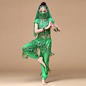 Danza del Vientre Accesorios Niños Representación Gasa Monedas de oro 6 Piezas Cintura Baja Top Pantalones Máscara Pulseras Tocados