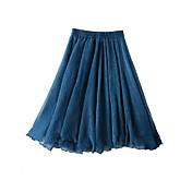 婦人向け カジュアル 膝丈 スカート,レーヨン 伸縮性なし