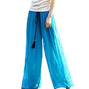 Mujer Boho Tiro Medio Inelástica Vaqueros Pantalones,Perneras anchas Un Color