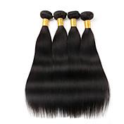 Cabello humano Cabello Peruano Tejidos Humanos Cabello Liso Extensiones de cabello 4 Piezas Negro