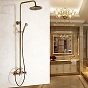 アンティーク調 壁式 レインシャワー / ハンドシャワーは含まれている with  セラミックバルブ 二つのハンドル二つの穴 for  アンティーク真鍮 , シャワー水栓
