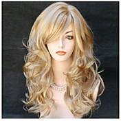 人気!最高品質のブロンド色の長い巻き毛の合成かつら