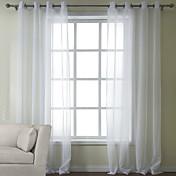 2パネル ウィンドウトリートメント 近代の , ソリッド ベッドルーム ポリ/コットン混 材料 シアーカーテンシェード ホームデコレーション For 窓