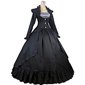 Egyrészes/Ruhák Klasszikus és hagyományos Lolita Vintage-inspirált Cosplay Lolita ruhák Fekete Régies (Vintage) Hosszú ujj Hosszú hossz