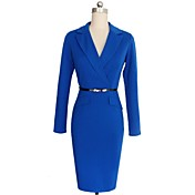 WOMEN - ビンテージ / セクシー / カジュアル / パーティー - ドレス ( コットンブレンド Vネック - 長袖