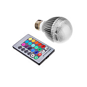 9W E26/E27 LEDボール型電球 集積LED 500 lm RGB リモコン操作 AC 85-265 V