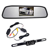 """4,3 """"retrovisor del coche monitor de TFT LCD sin cables 170 ° de copia de seguridad de cámara de reversa kit de visión nocturna"""