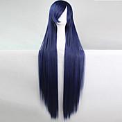 アニメのコスプレウィッグダークブルー100センチメートル長いストレートの髪高温ワイヤー