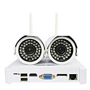 ctvmanワイヤレス無線LAN IPカメラDIYのNVRキットHD 720pの2個の1MPの弾丸屋外カム+ 1個4chのミニNVR
