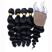 Trama del pelo con cierre Cabello Brasileño Ondulado Amplio 12 meses 5 Piezas los tejidos de pelo