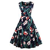 Mujer Línea A Vestido Noche Tallas Grandes Vintage,Floral Estampado Escote Cuadrado Hasta la Rodilla Sin Mangas Algodón Verano Tiro Medio