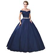 Salón Hasta el Suelo Satén Tul Satén Estirado Evento Formal Vestido con Detalles de Cristal por MMHY
