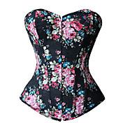 Para Mujer Corsé Superior Ropa de dormir,Sexy / Estampado Floral Vaquero / Poliéster Azul / Negro