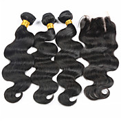 Trama del pelo con cierre Cabello Brasileño Ondulado Grande los tejidos de pelo