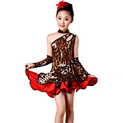 私たちはラテンダンスドレス子供のパフォーマンススパンデックス/ポリエステルヒョウショルダーダンスの衣装オフになります