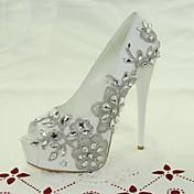 Mujer-Tacón Stiletto-Punta AbiertaBoda / Vestido / Fiesta y Noche-Purpurina / Materiales Personalizados-Blanco