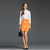 婦人向け フォーマル 春 セット,シンプル タートルネック プリント ホワイト コットン 七部袖 薄手