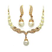 Dámské Sady šperků Základní design Napodobenina perel Pro nevěstu bižuterie Napodobenina perel Šperky Küpeler Náhrdelník Pro Svatební