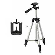 サムスンiphoneソニー:すべてdv.cameraとモバイル用ismartdigi I-3110 +モバイルスタンド4セクションのカメラ三脚(銀+黒)