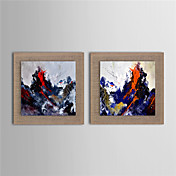 手描きの 風景 欧風,2枚 キャンバス ハング塗装油絵