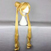 熱い販売の高品質の耐熱100センチメートルかわいい金色の巻き毛、波状の女性はセーラームーンかつら+長いおさげコスプレ