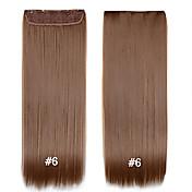 ストレート黒茶色金髪安い織りを設定し、髪の拡張子#6 24inch用の1pcsで合成クリップ