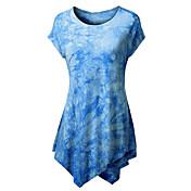 Majica s rukavima Ženske,Ulični šik Izlasci Color block-Kratkih rukava Okrugli izrez-Ljeto Srednje Poliester