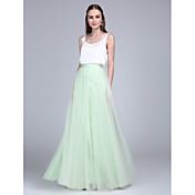 Funda / Columna Hasta el Suelo Tul Raso de Satén Vestido de Dama de Honor con Botones por LAN TING BRIDE®