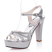 Women's Shoes Patent Leather / Glitter Chunky Heel Heels / Platform / Open Toe Sandals Office & Career / Dress /  Silver