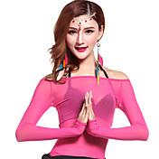 Danza del Vientre Tops Mujer Entrenamiento Tul Drapeado 1 Pieza Mangas largas Cintura Media Top