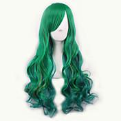 緑/黄色ロリータオンブルかつらpelucas pelo自然な合成かつらはperruqueコスプレウィッグカーリーperuca耐熱性