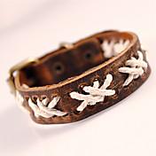 Herre Wrap Armbånd Læder Armbånd Mode Boheme Stil Yndig Håndlavet Personaliseret Læder Geometrisk form Sort Brun Smykker ForFest Daglig