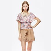 De las mujeres Boho Playa Verano Camiseta,Escote Redondo Floral Manga Corta Otro Naranja Transparente
