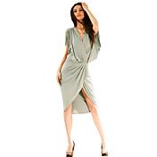 De las mujeres Vestido Sexy / Vintage / Para Trabajo / Casual Sobre la rodilla / Asimétrico Poliéster / Licra
