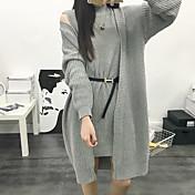 Mujer Largo Cardigan Casual/Diario Simple,Un Color Gris Cuello Barco Manga Larga Algodón Invierno Medio Microelástico