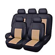 11pcs de la PU de cuero negro con auto-amarillento coche cubre conjunto completo sintético cubiertas del asiento