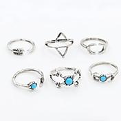 Anéis Fashion / Ajustável Diário / Casual Jóias Feminino / Masculino Anéis Meio Dedo / Anéis Grossos 1conjunto,Tamanho Único Prateado