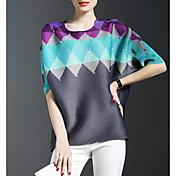Mujer Sofisticado Formal Primavera Camiseta,Escote Redondo Bloques 1/2 Manga Rayón Multicolor Fino