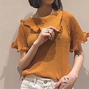 Mujer Corto Pullover Noche Casual/Diario Simple,Un Color Marrón Cuello Camisero Manga Corta Algodón Verano Medio Elástico