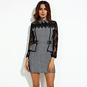 女性 プラスサイズ / ワーク ドレス,カラーブロック シャツカラー 膝上 長袖 レッド / グレイ / グリーン ポリエステル 秋 マイクロエラスティック ミディアム
