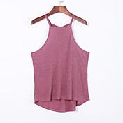 Mujer Simple Casual/Diario Verano Tank Tops,Escote Redondo Un Color Sin Mangas Algodón Rojo / Gris Fino