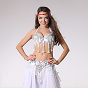 Danza del Vientre Accesorios Mujer Representación Algodón Poliéster Cuentas 2 Piezas Sin mangas Cintura Baja Top Cinturón