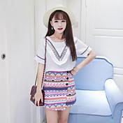 婦人向け カジュアル/普段着 春 Tシャツ,シンプル ラウンドネック ソリッド ホワイト リネン 半袖 ミディアム