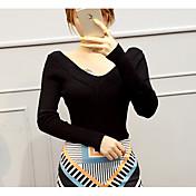 Mujer Regular Pullover Casual/Diario Simple,Un Color Rosa Blanco Gris Escote en Pico Manga Larga Algodón Otoño Medio Elástico
