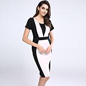 De las mujeres Línea A / Corte Bodycon Vestido Vintage / Simple / Bonito / Chic de Calle Retazos Hasta la Rodilla Escote RedondoAlgodón /