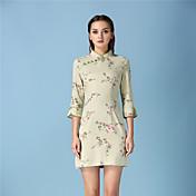 女性 シンプル カジュアル/普段着 シース ドレス,フラワー スタンド 膝上 長袖 ブラウン コットン 秋 ハイライズ 伸縮性なし