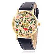 CAGARNY Mujer Reloj de Moda Reloj de Pulsera / Cuarzo Piel Banda Cosecha Caricaturas Hojas Flor Cool Casual Negro Rojo Marrón Amarillo