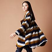 Yishidian® 女性 シャツカラー ロング ウール&ブレンド グレー / 黄色-YSD1630W3
